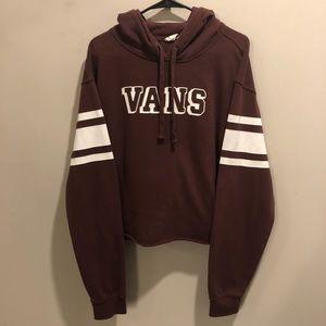 Vans pullover hoodie cropped maroon/ white